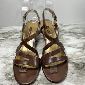 Espresso Brown Leather Ecco Ivy Strappy Sandals